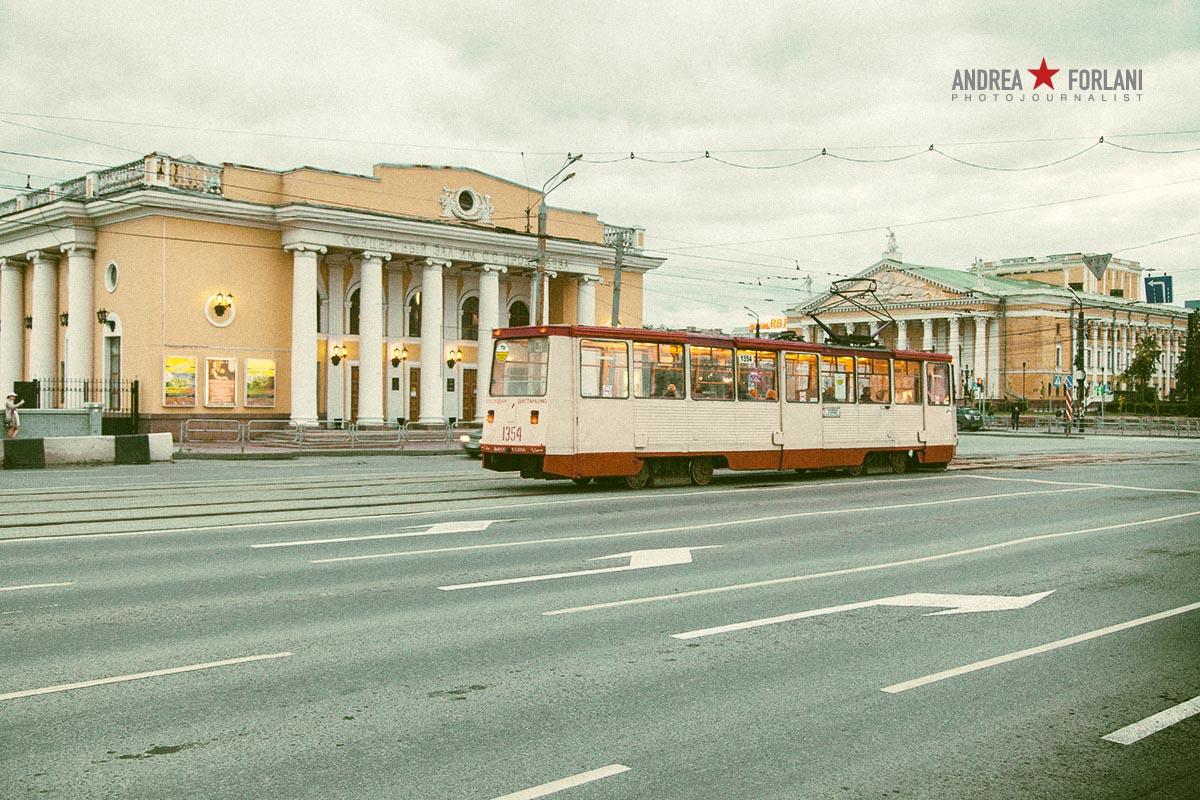 Tram nel centro di Čeljabinsk - Russia