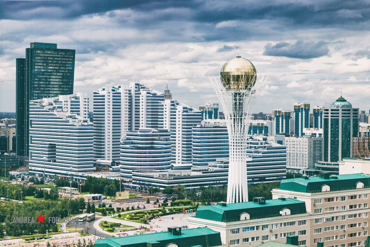 Astana skyline with bayterek tower