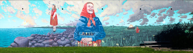 Tallinn, Estonia. Aaron Glasson mural in Lasnamäe.
