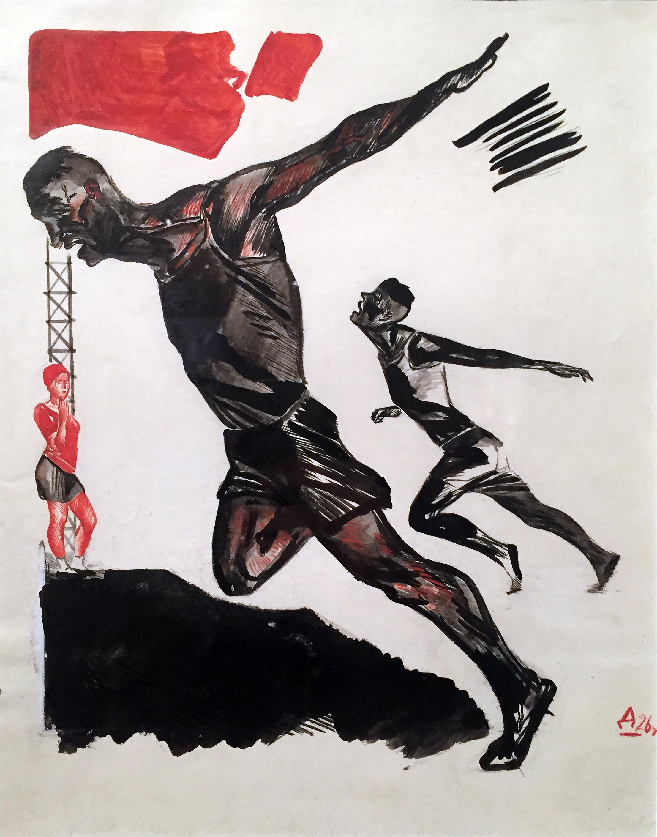 Alexander Deineka - Sulla linea del traguardo - inchiostro di china, acquerello e pigmento bianco su carta (1926).