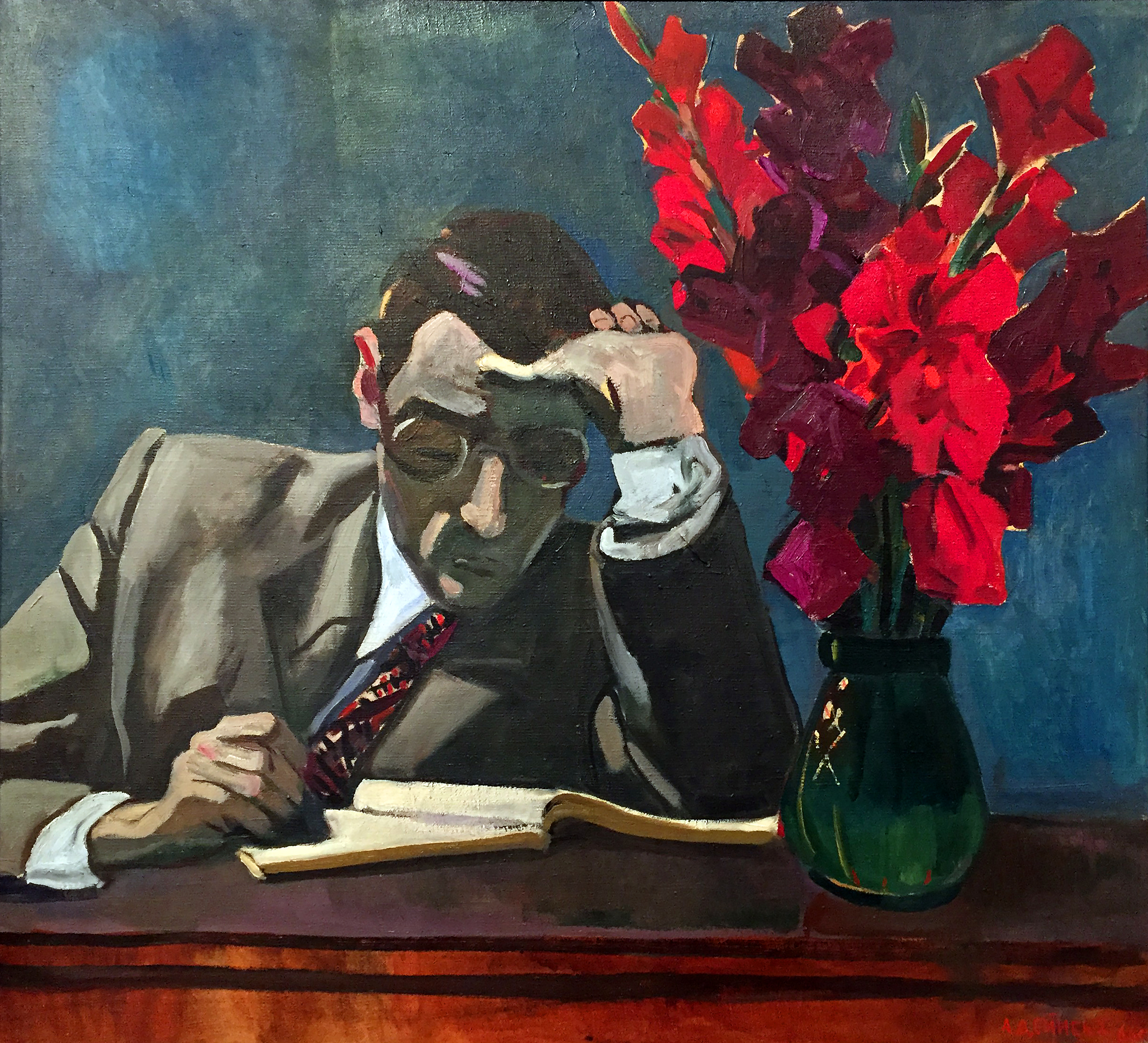 Alexander Deineka - Una decisione difficile - olio su tela (1966).