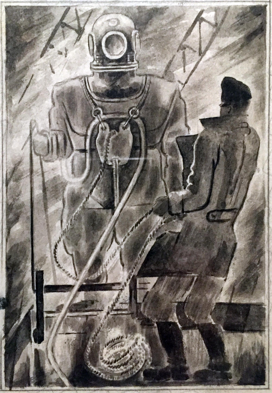 Aleksander Samokhvalov - Il subacqueo si arrampica sul ponte - acquerello nero su carta (1927).