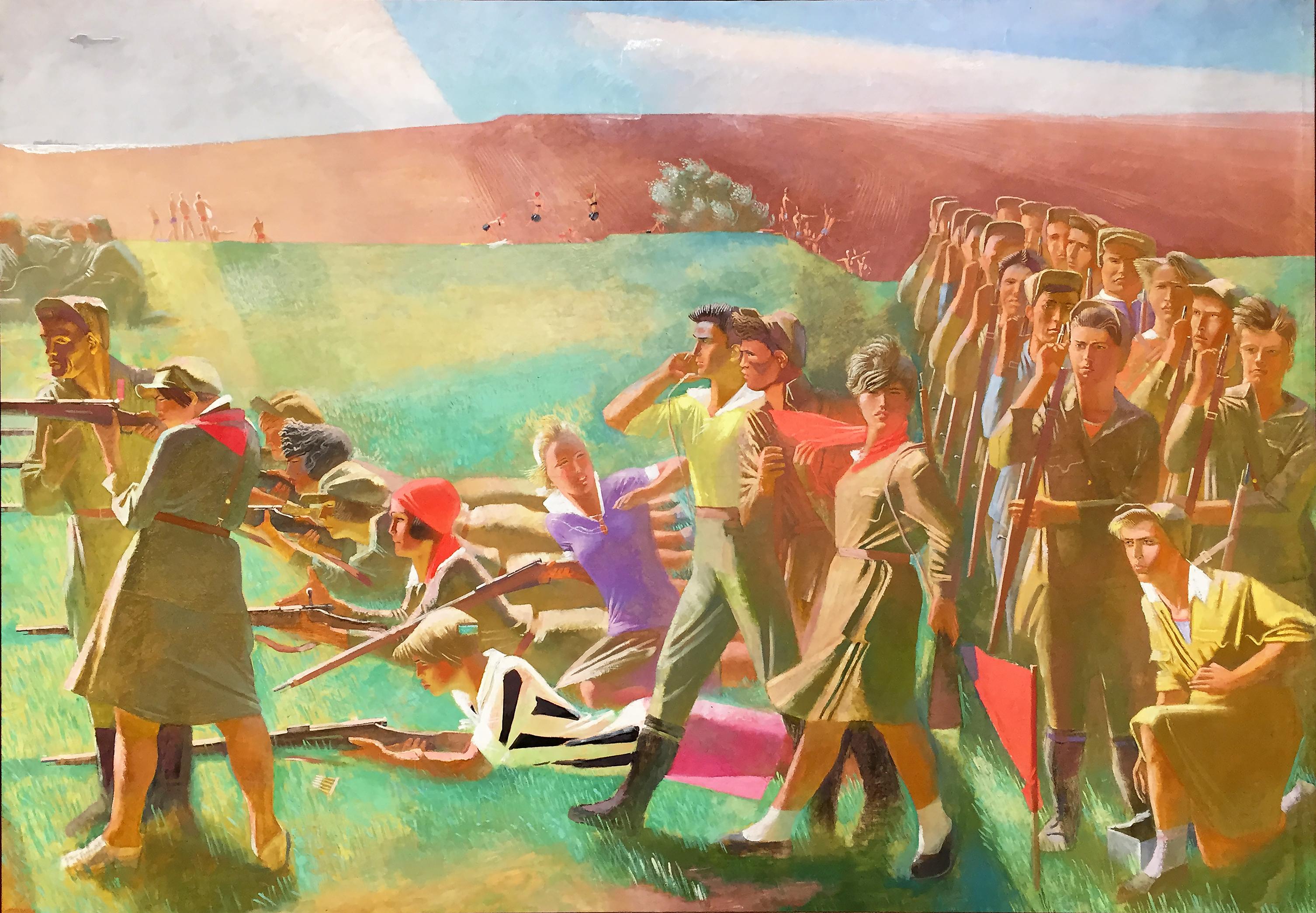 Alexander Samokhvalov - Komsomol militarizzato - tempera su tela (1930-33).