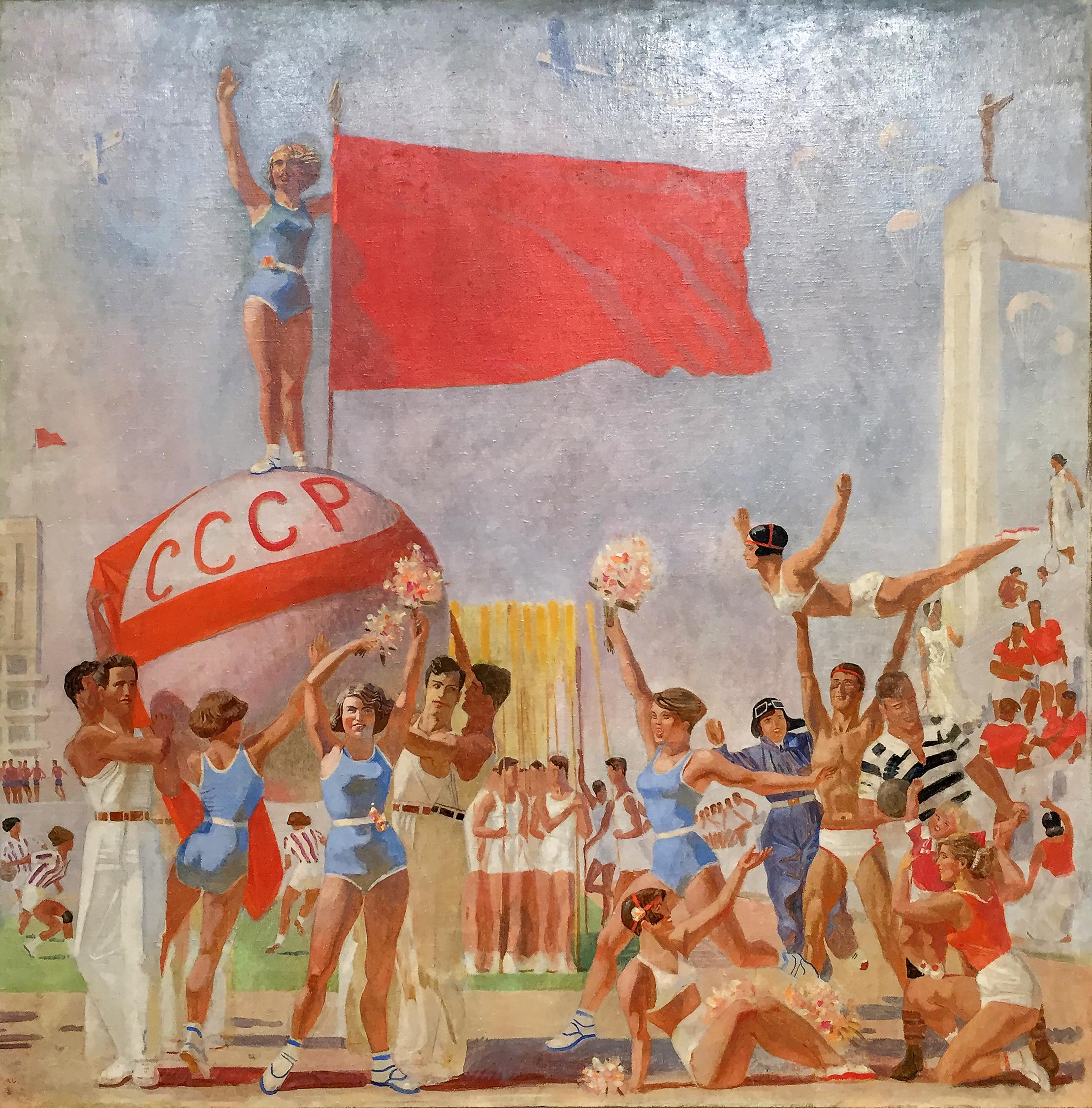 Alexander Samokhvalov - schizzo per un pannello dell'ultima sala del padiglione sovietico all'Expo di Parigi del 1937 - olio su tela (1935).