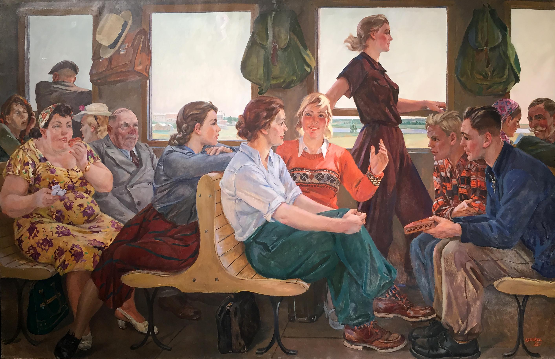 Alexander Deineka - Versi di Majakovskij - olio su tela (1955).